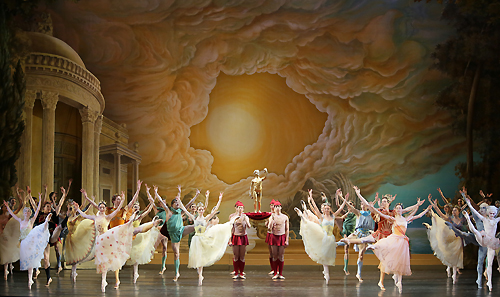 Set scenery for the premiere of the ballet Sylvia
